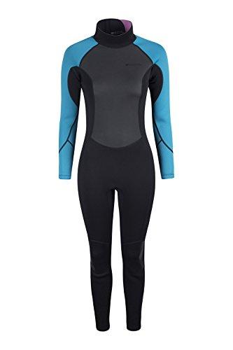 Mountain Warehouse Damen langer Neoprenanzug Tauchanzug Wetsuit schmeichelhafte Passform Schwimm Bade Surf Wasser Strand Wassersport Urlaub Tauchen Schnorcheln Blau S