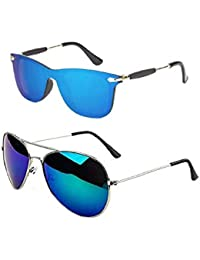 d966b831135 Flozum Unisex Combo offer Pack of UV Protected Stylish one piece Wayfarer  Sunglasses   Blue Mercury Aviator Sunglasses For Men Women…
