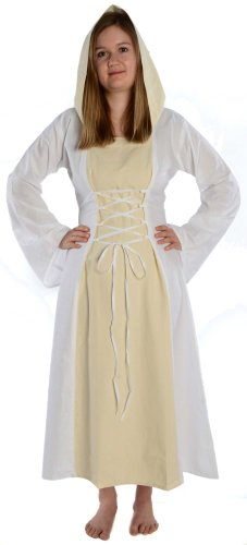 HEMAD Damen Mittelalter Kleid zum Schnüren mit Gugel weiß rot grün blau braun schwarz S - XL (M, (Kleid Mittelalter Weiss)