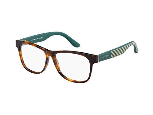 Tommy Hilfiger Unisex-Erwachsene TH 1268 4NW 54 Sonnenbrille, Schwarz (Havana Striped Petrol Beige),