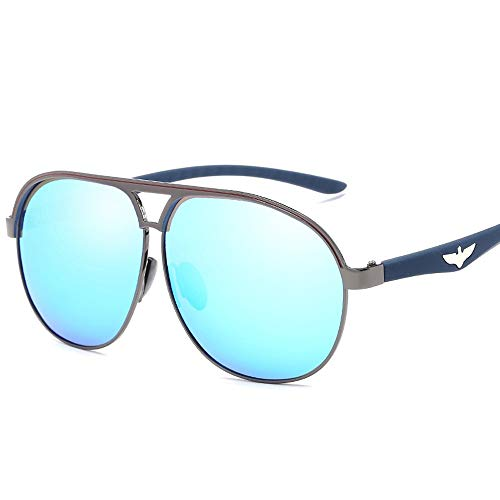 Trendy Men Driving Metal Polarized Aviator Sonnenbrille Polarisierte Sonnenbrille Brille (Color : Blau, Size : Kostenlos)