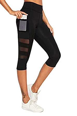 BLINKIN Mesh Yoga Gym and Active Sports Fitness Black Leggings Capri Tights for Women|Girls (8700-Black)