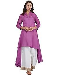 Mala Singh Jahaanara Asymmetrical Hemline Women's Kurta (Pigment Dyed Purple)