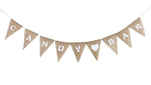 SUNBEAUTY Candy BAR Girlande Vintage Stil Leinen Deko Wimpelkette für Hochzeiten Geburtstag Candybar