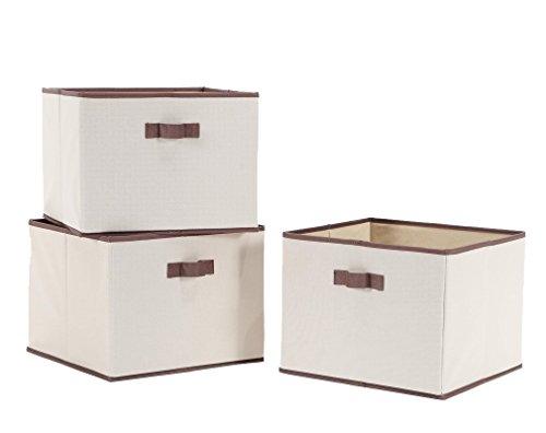 storagemaniac Faltbare-Abfalleimer mit Griffen, Aufbewahrungsbox Stoff Schrank Schublade, 3 Stück