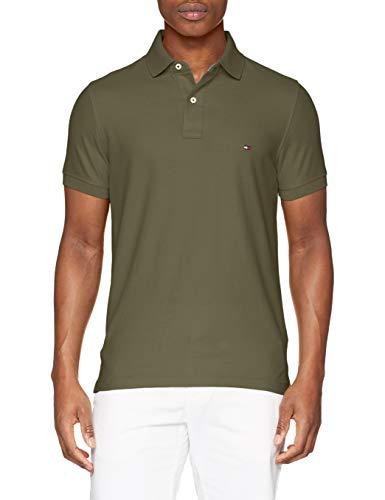 Tommy Hilfiger Herren Hilfiger Slim Polo Poloshirt, Grün (Dusty Olive 308), X-Large (Herstellergröße: XL) - Xl Golf Polo-shirt