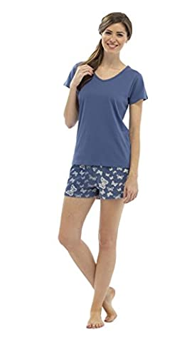 Ladies V-Neck Jersey Top & Butterfly Print Shorts S/M 8-10