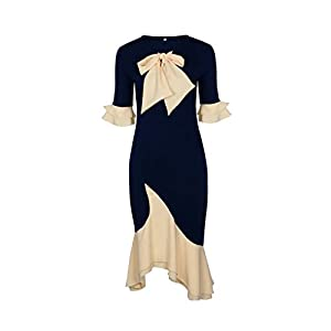 Providethebest Frauen Bowknot Krawatte Patchwork Halb Aufflackern-Hülsen-Rüsche Bodycon Büro-Kleid