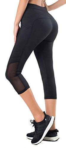 Sudawave Damen Mesh 3/4 Capri Yoga Hose Aktive Leggings mit Tasche für Laufen Fitness Gym Sport usw (Schwarz, S) -