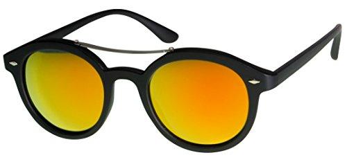 Immerschön Vintage-Sonnenbrille im 60-er Jahre-Design - Modell 2 schwarz orange verspiegelt Retro-Style Sixties Clubmaster Bluesbrothers Rockabilly Rock&Roll (Mode Für Männer Jahre 60er)