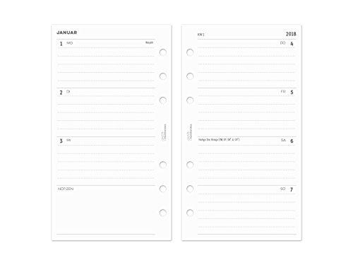 2018 Personal Kalender Einlagen 1W/2S - Zeilen liniert - s/w - 95x171mm