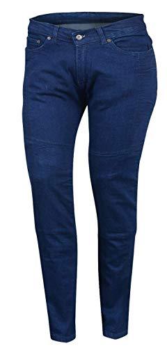 Bikers Gear Australia Limited Damen Stretch gefüttert mit Kevlar Motorrad Schutz Jeans mit abnehmbare CE Armour, blau, Größe 18