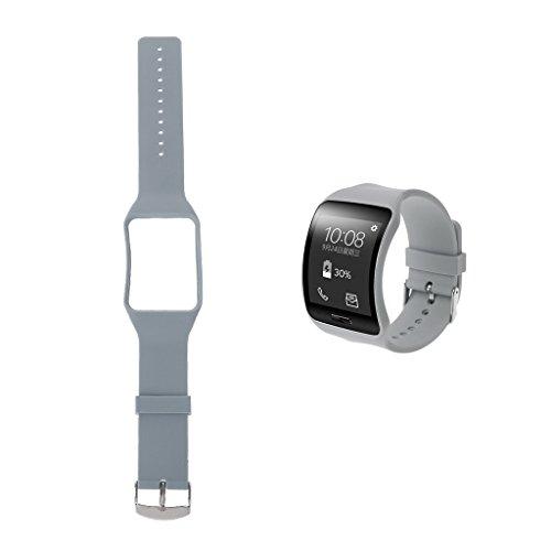 Jiamins Silikon Handgelenk Band Strap Ersatz für Samsung Galaxy Gear S sm-r750Smart Watch, Grau, 5.12
