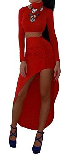 Femmes Sexy col haut à manches longues Clubwear Crop Top Robe fendue 2 Sets Pièces Rouge