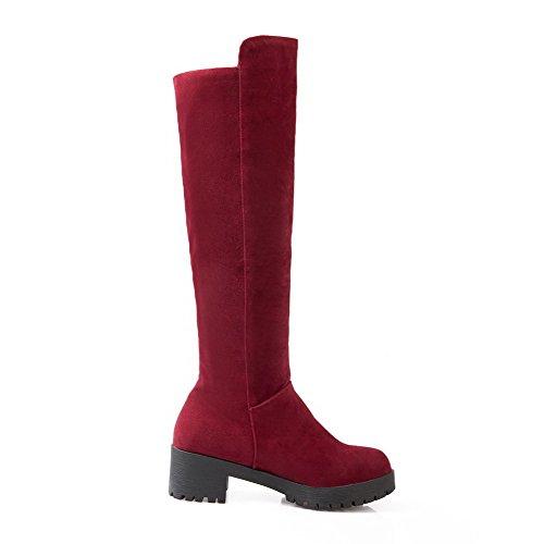 AgooLar Damen Mittler Absatz Weiches Material Hoch-Spitze Rein Ziehen auf Stiefel, Schwarz, 35