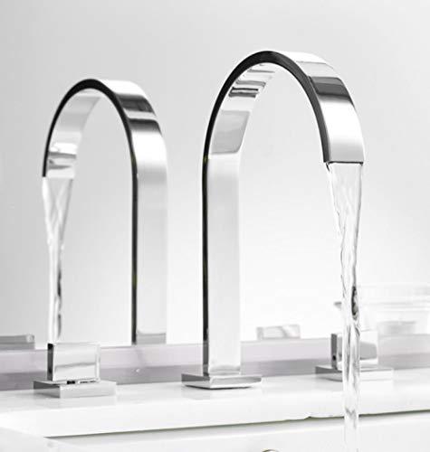 Wasserhahn Waschtischarmaturen Messing Chrom poliert Deck montiert Platz Waschbecken Armaturen 3-Loch-Doppelgriff heißes und kaltes Wasser Hahn