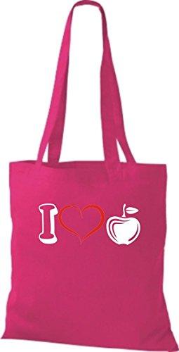 Stoffbeutel Obst I love Apfel Äpfel pink