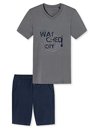 Schiesser Jungen Anzug kurz\' Zweiteiliger Schlafanzug, Grau (Grau 200), (Herstellergröße: 176)