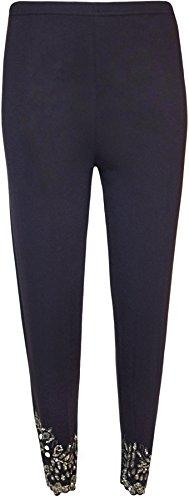 WearAll - Grande taille paillette perle fleur pétale festonné leggings - Pantalons - Femmes - Tailles 40 à 54 Bleu Marine