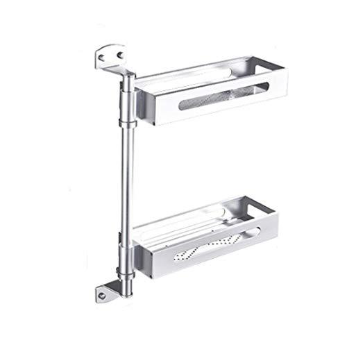 Küchenregal Aluminium Küche Rack Zwei-Schicht-Drain kann ohne Punching Multi-Funktions-Haushalt Lagerung 2 Farbe Optional 39 cm * 5 cm * 54 cm CHENGYI (Color : Silver) -