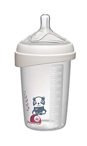 nip® first moments Weithalsflasche Silikon: 270 mL, M Sauger, mit extra breiter Lippenauflage speziell für Neugeborene