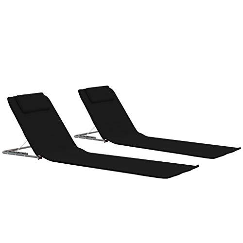 Festnight- 2er Set Klappbare Strandmatte | Gartenliege mit Verstellbare Rückenlehne | Strand Liege Matte Faltbar Sonnenliege Stoff Schwarz