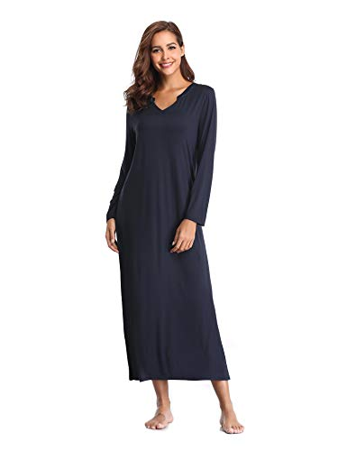 Lusofie camicia da notte cotone per donna maniche lunghe v-collo biancheria da notte (marina militare/l)