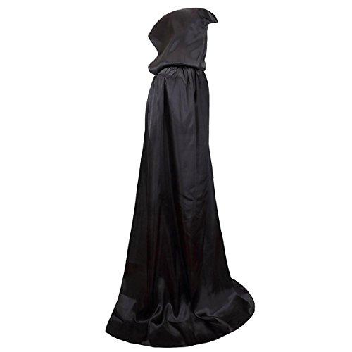 (Damen Herren Halloween Umhang Karneval Fasching Kostüm Cape mit Kapuze Schwarz)