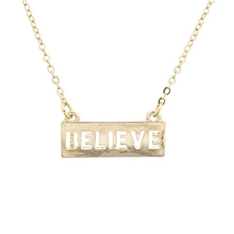 Lux Accessories Gold Tone Believe Inspirational Cutout Verbiage Bar