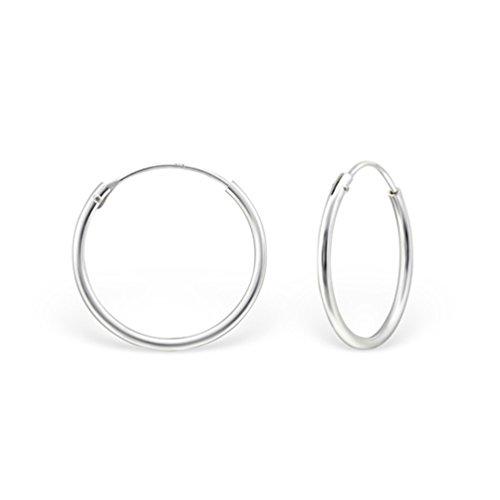 DTP Silver - Argento 925 - Orecchini da donna a Cerchio - Spessore 1.2 mm - Diametro 18