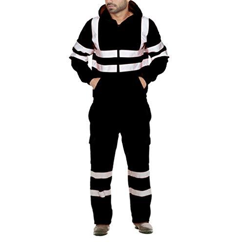 Aoogo Herren Sportanzug Langarm-Sweater Jacke + Casual lose Hose Zweiteilige Fluoreszierende reflektierende Warnoverall