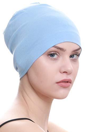Deresina Headwear Schlafmütze Aus Baumwolle für Krebs, Haarverlust (Himmelblau)