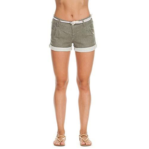 Ragwear Heaven A Damen,Shorts,Kurze Hose,Sommerhose,vegan,Stretch,mit Gürtel und Zwei Taschen,Olive,28 - Baumwolle Geflochten Olive