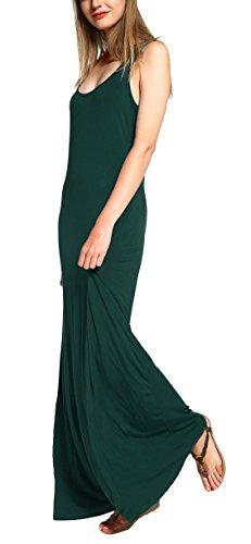 Damen Ärmellos Langes Top Stretch Maxi Kleid (L, Dunkelgrün) (Kleid Racerback Tank)