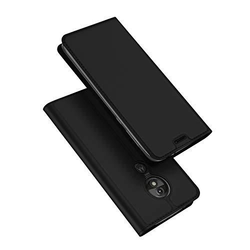 DUX DUCIS Moto E5 Play Hülle, Leder Flip Handyhülle Schutzhülle Tasche Case mit [Kartenfach] [Standfunktion] [Magnetverschluss] für Motorola Moto E5 Play - XT1920 UK Version (Schwarz)