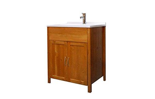 #SAM® Stilvoller Waschplatz Unterschrank Venedig in honig, Badschrank aus lackiertem Kiefer, massives Kiefernholz, landhäuslicher Stil, edelstahl-farbene Griffe, viel Stauraum#