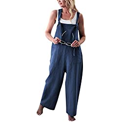 Minetom Femme Salopette Casual Large Ample Harem Sarouel Pantalon Combinaison Jumpsuit Chic Lin Poches Playsuit Overalls Rompers Bleu FR 46