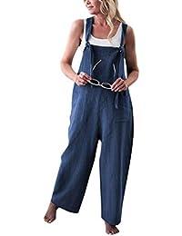 71107077d186 Minetom Donna Salopette Sciolto Tuta Baggy Pantaloni Larghi con Tasche  Casual Moda Colore Solido Lino Dungarees