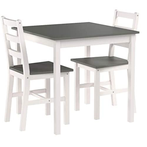 WestWood Quality Solid Pine Wood Dining Table With 2 Chairs Set Kitchen Home Breakfast Furniture Grey New
