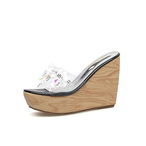 YAN Women es Wedge Slipper 2019 Neue Plattform Schuhe Clogs & Mules Transparent Peep Toe Sandals Fashion Ladies High Heels,B,34 Plattform Mule