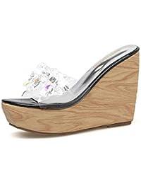 a3725eb7d YAN Zapatilla de cuña de Las Mujeres 2019 Nueva Plataforma Zapatos Zuecos y  Mulas Transparentes Peep Toe Sandalias Moda señoras…