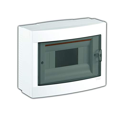 Aufputz Kleinverteiler 8 Module / Sicherungskasten / Verteilerkasten Aufputz IP40, 1-reihig mit Hutschiene +1 stk. Klemme