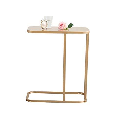 Teakholz-runder Kaffee Tisch (Xilinshop Modernes kreatives Beistelltisch-Kaffee-Notizbuch-bewegliches Snack-Tisch-Sofa nahe bei den dekorativen Möbeln des kleinen Kaffeetisch-Marmortischplatten-Metallrahmens (Color : Gold))