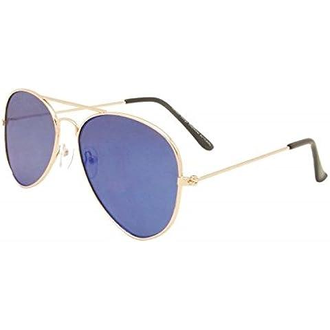 Blu unisex obiettivo piatto stile Aviator Occhiali da sole Anni 80Moda metallo Farme Oro Bordo