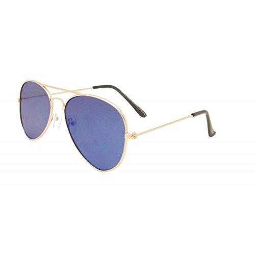 Blau Unisex flach Objektiv Aviator Stil Sonnenbrille 80er Fashion Metall Farme Gold Rand