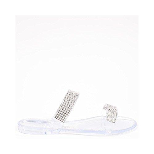 Ideal Shoes - Sandales plates en plastique avec lanières incrustées de strass Roselia Argent
