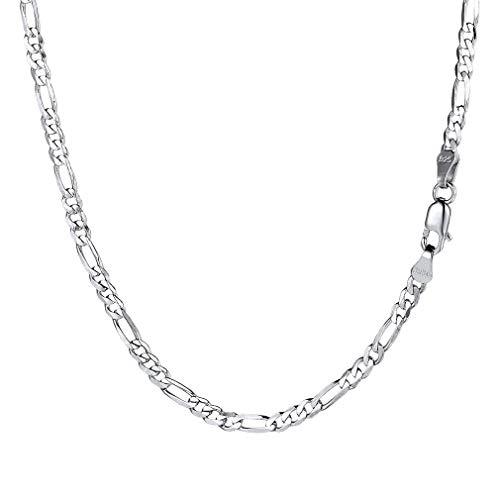 PROSILVER Italien Figarokette 2,9mm breit Herren Halskette 925 Sterlingsilber 1+3 Gliederkette 55cm Kettelänge Weihnachtsgeschenk für Männer Jungen