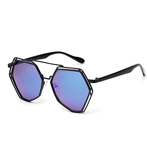 SYQA Übergroße Hexagon Metall Sonnenbrille Frauen Sonnenbrille Schwarz Blau Flash Mirror Brille,C1