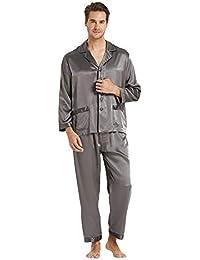 219c0fc982 LilySilk Seide Pyjama Herren Zeitlos Klassischer Schlafanzug Nachtwäsche  für Stilbewusste Männer 22 Momme Verpackung MEHRWEG