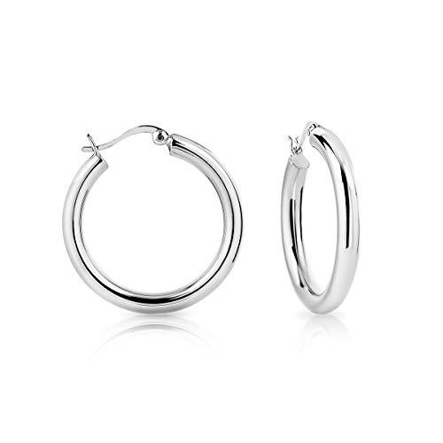 DTP Silver - Argento 925 - Orecchini da donna a Cerchio/Creoli - Spessore 4 mm - Diametro 30 mm